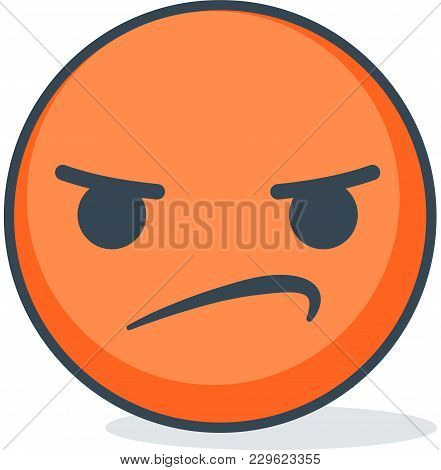 Isolated Confused And Angry Emoticon. Isolated Vector Emoticon.