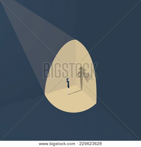 Businesswoman With Superhero Shadow Vector Concept. Business Symbol Of Emancipation, Ambition, Succe