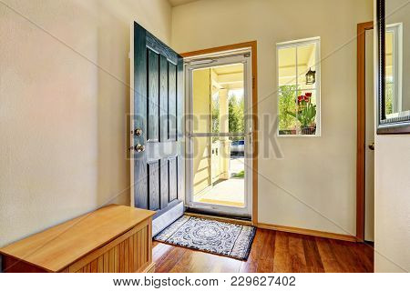 Small Foyer With Green Open Front Door,