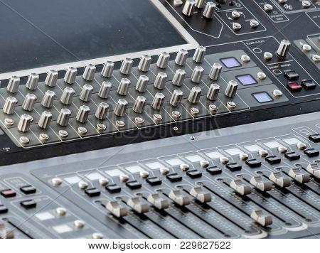 Professional Audio Mixer Console. Close Up Shot