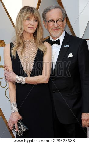 Steven Spielberg and Kate Capshaw at the 90th Annual Academy Awards held at the Dolby Theatre in Hollywood, USA on March 4, 2018.