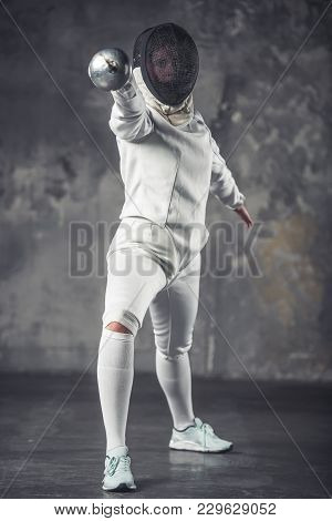 Woman Is Fencing