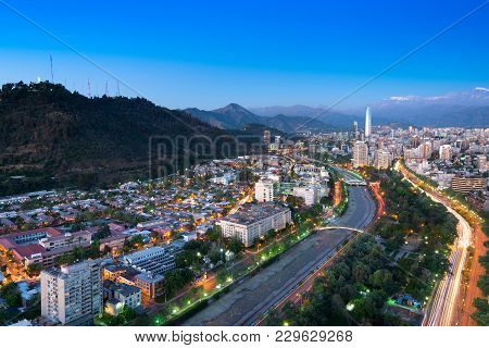 Panoramic View Of Providencia And Las Condes Districts And Bellavista Neighborhood, Santiago De Chil