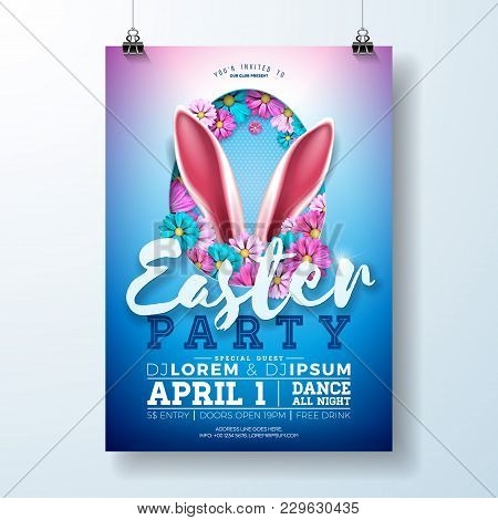 Vector Easter Party Flyer Illustration With Rabbit Ears, Flowers And Typography Elements On Blue Bac