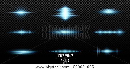 Blue Light Effects On A Transparent Background. Bright Flashes And Glares Of Blue Color. Bright Rays