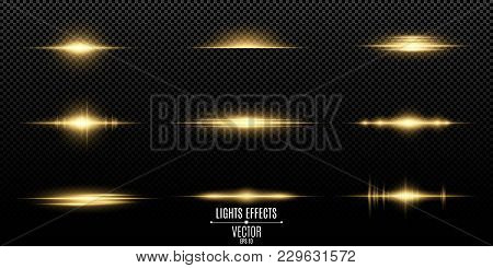 Gold Light Effects On A Transparent Background. Bright Flashes And Glares Of Golden Color. Bright Ra