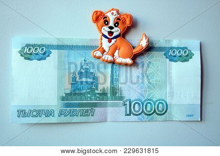 The Reverse Side Of Blue 1000 Thousand Rubles In Russia. Merry And Colorful 1000 Rubles Money Of Rus