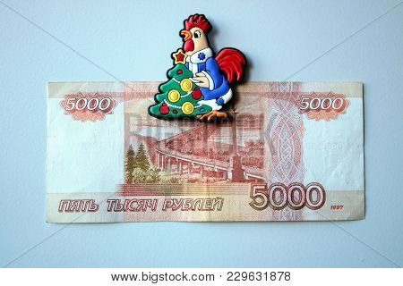 Banknote Blue 5000 Thousand Rubles In Russia. Merry And Colorful 2000 Rubles Money Of Russia.
