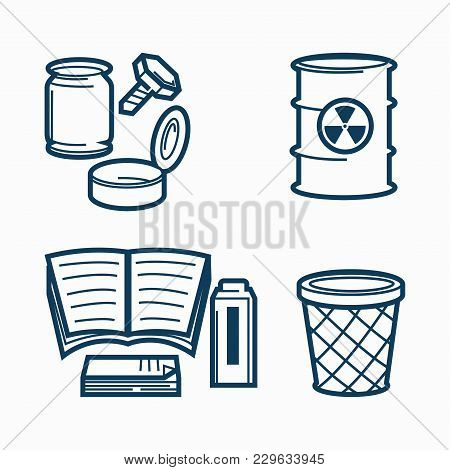 Garbage Of Several Kinds And Office Trash Bin. Metal Bolt, Glass Jar, Open Can, Barrel Of Toxic Wast