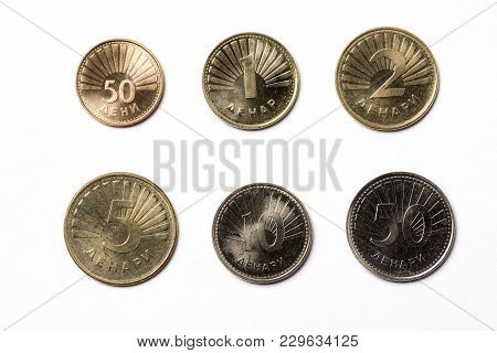 Macedonian Coins On A White Background - Denar