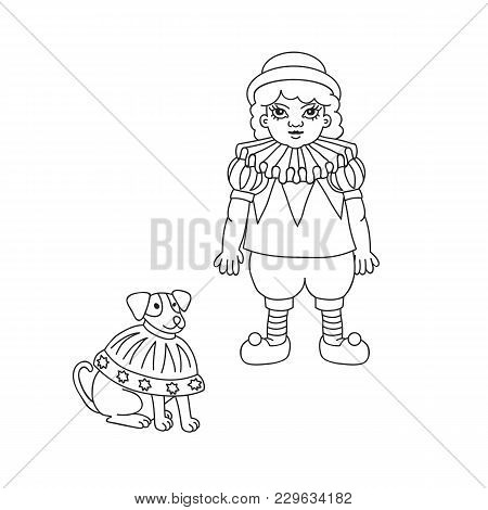 Vintage Circus Illustrations Collection. Lineart Illustration For Adult Coloring Book. Little Tamer