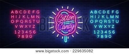 Cotton Candy Neon Sign. Cotton Candy Logo In Neon Style Symbol Banner Light, Bright Cotton Candy Nig