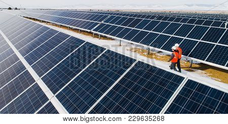 Solar Power Station Worker Winter Panel Support