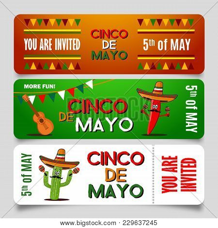 Cinco De Mayo Poster Design Template With Lettering, Cactus, Flaming Red Pepper Jalapeno And Sombrer