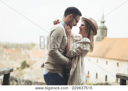 True Love Soulmates Intimate At Park Engaged And Happy
