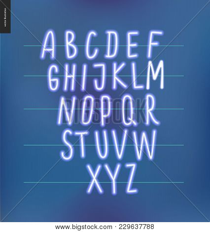 Neon Alphabet Volume 3 - Vector Illustrated Kids Font Glowing Letters Set On Blue Background