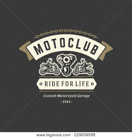 Sport Motorcycle Logo Template Vector Design Element Vintage Style For Label Or Badge Retro Illustra