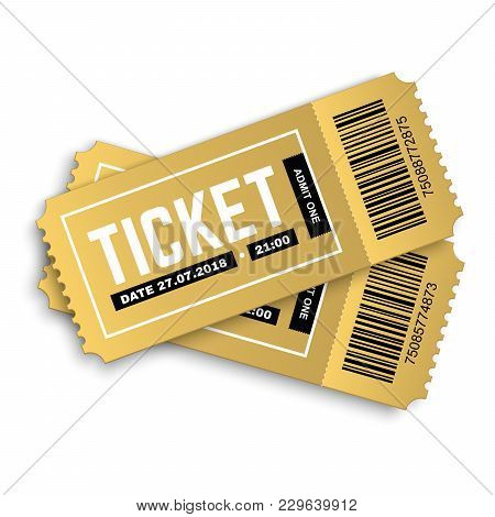 Two, Pair Vector Golden Tickets Isolated On White Background. Cinema, Theatre,  Concert, Play, Party