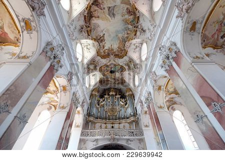AMORBACH, GERMANY - JULY 08: Organ in Amorbach Benedictine monastery church in the district of Miltenberg in Lower Franconia in Bavaria, Germany on July 08, 2017.