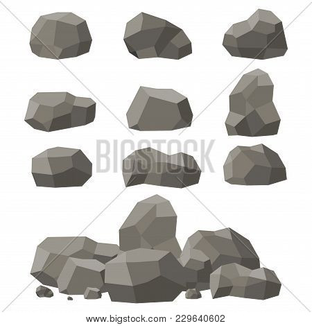 Rocks And Stones Set, Single Or Piled On White Background. Stones And Rocks In Isometric 3d Flat Sty