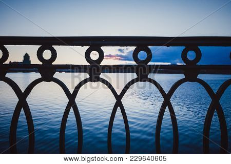 Vintage Rusty Railings By The Sea In The Port Of Vyborg