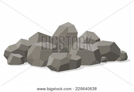 Rocks And Stones Piled Isolated On White Background. Stones And Rocks In Isometric 3d Flat Style. Di