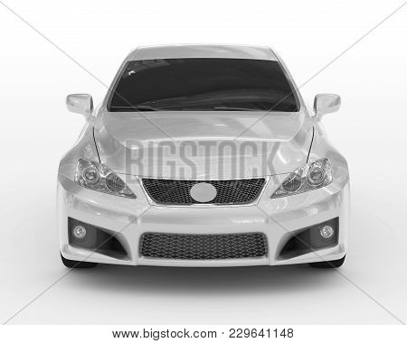 Car Isolated On White - White Paint, Tinted Glass - Front View - 3d Rendering