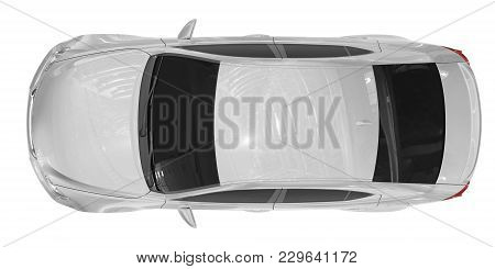 Car Isolated On White - White Paint, Tinted Glass - Top View - 3d Rendering