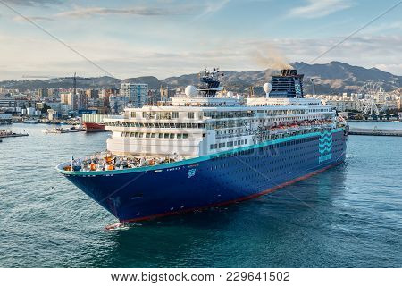 Malaga, Spain - December 7, 2016: The Pullmantur Zenith Cruise Ship Leaves The Port Of Malaga, Andal