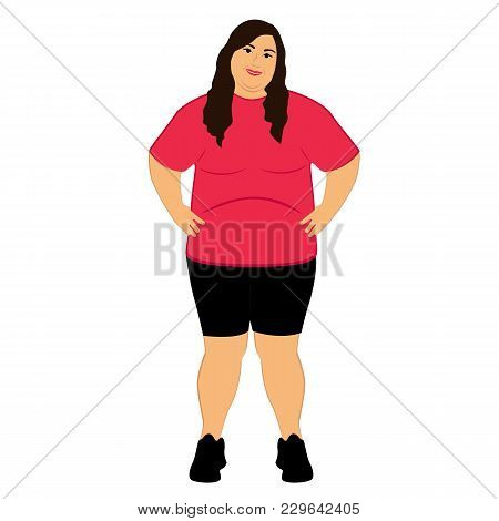 Fat Woman. Obesity. Lifestyle. The Woman Gained Weight. Isolated Objects Vector Illustration