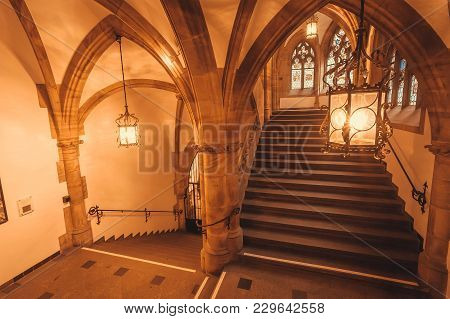 Munich, Germany - November 17, 2018: Historical Stairs Inside Gothic Style New Town Hall, Neues Rath
