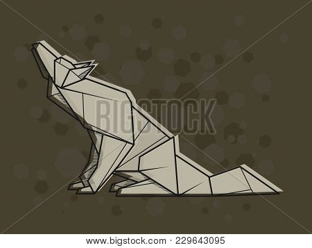 Vector Abstract Simple Illustration Drawing Outline Wolf.