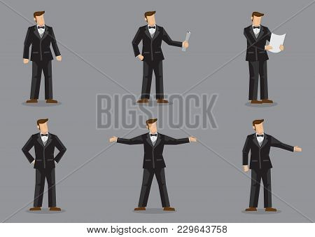 Set Of Six Vector Illustration Of Cartoon Man Character In Formal Black Suit With Bow Tie In Differe