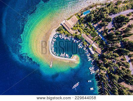 The Old Harbor And Fishing Village Kouloura. Corfu (kerkyra) Island, Greece, Europe. Fishing Boats A