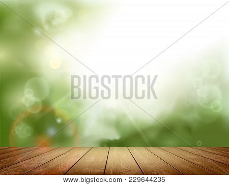 Wooden Table On Defocused Blurred Natural Background. Template For Advertising. Stock Vector Illustr