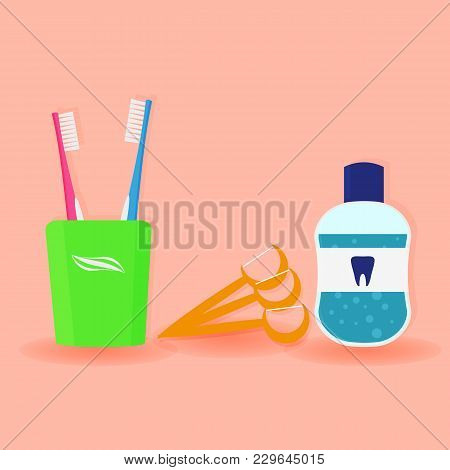 Set Of Dental Cleaning Tools. Toothbrushes, Toothpaste, Mouthwash And Dental Floss Isolated On Pink