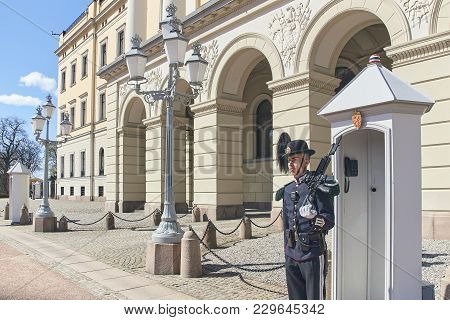 Oslo, Norway: April 26 2017 - Guardsman, Member Of Hans Majestet Kongens Garde Hmkg, On Sentry Duty