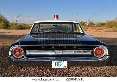 Mesa, Arizona, February 5, 2018: The Sheriff Of Mayberry 64 Ford Galaxy Car With Fife License Plates