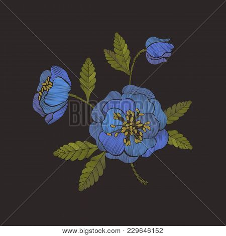Embroidery Floral Pattern With Blue Anemone Flowers. Embroidery Trendy Design Element.