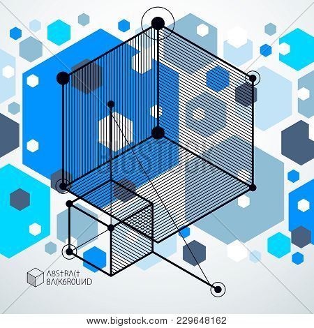 Geometric Technology Vector Blue Drawing, 3d Technical Backdrop. Illustration Of Engineering System,