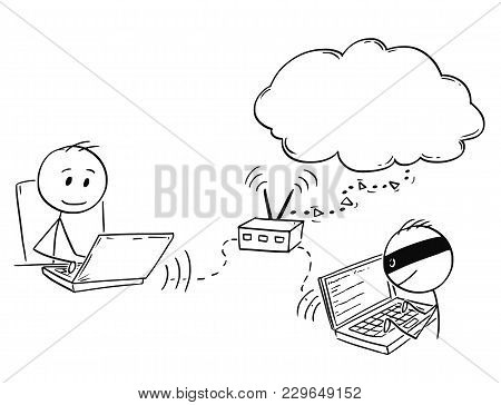 Cartoon Stick Man Drawing Conceptual Illustration Of Businessman Working On Computer While Hacker Is