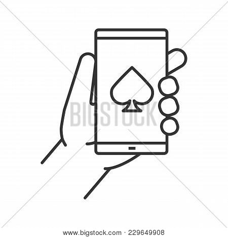 Online Casino Linear Icon. Thin Line Illustration. Hand Holding Smartphone With Spade Card Suit Sign