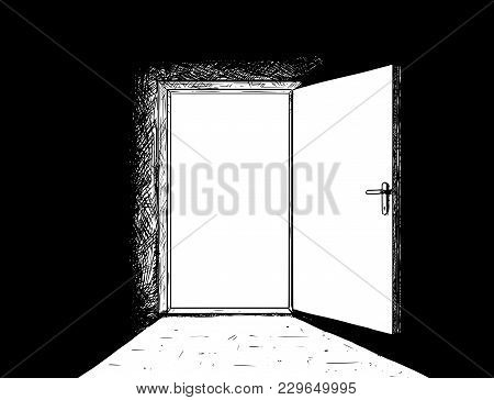Cartoon Stick Man Drawing Conceptual Illustration Of Open Simple Modern Door And Bright Light Coming