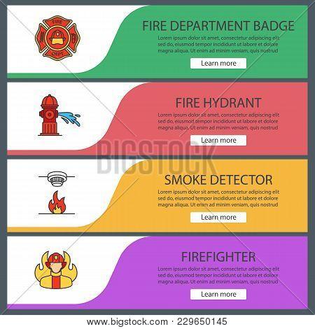 Firefighting Web Banner Templates Set