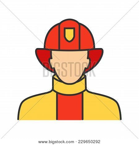 Firefighter Color Icon. Fireman. Isolated Vector Illustration