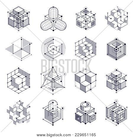 Geometric Technology Vector Black And White Drawings Set, 3d Technical Backdrop. Illustration Of Eng