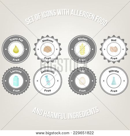 Set Of Badges For Allergens Free Product And Harmful Ingredients. Trans Fat, Mollusk, Lactose, Glute