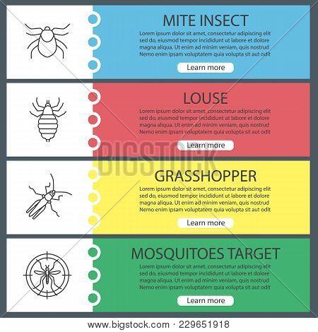 Pest Control Web Banner Templates Set. Mite, Louse, Grasshopper, Mosquitoes Target. Website Color Me