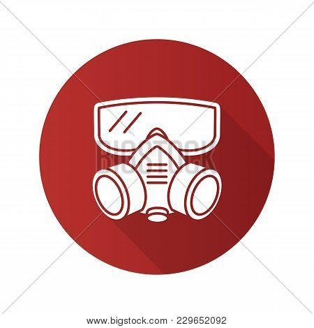 Respirator Flat Design Long Shadow Glyph Icon. Gas Mask. Pest Control Equipment. Vector Silhouette I