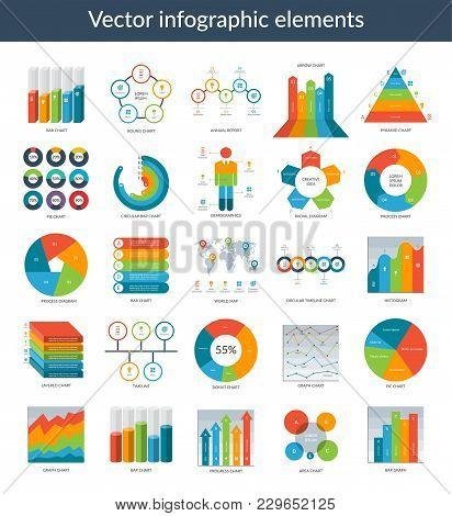 Infographic Elements. Set Of Simple Templates - Circle, Pie Chart, World Map, Arrow, Timeline, Diagr